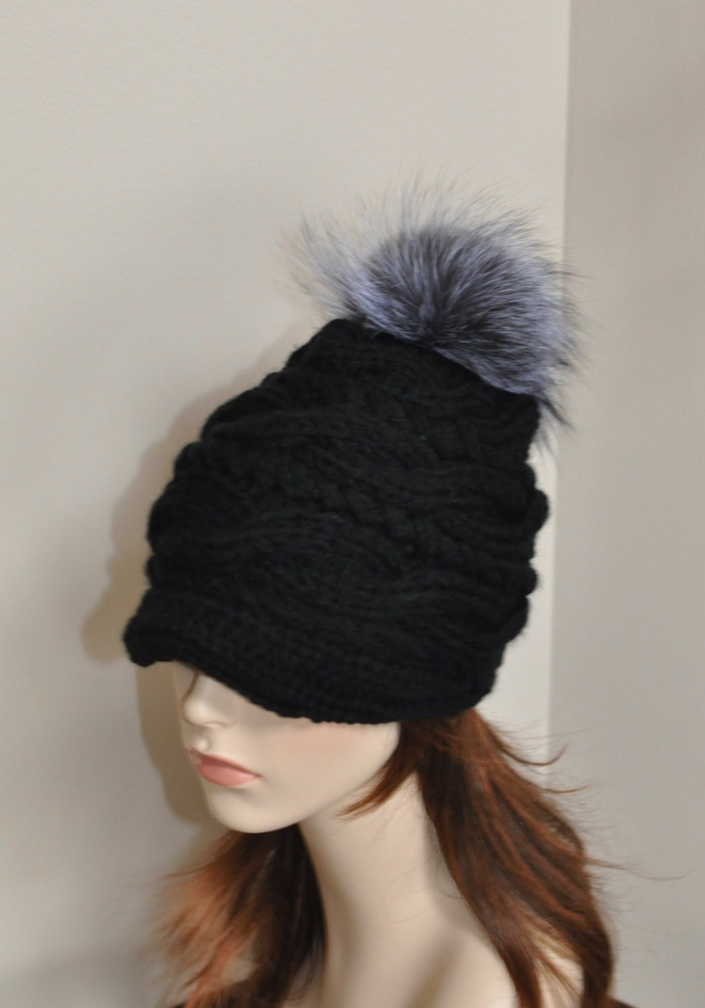 dee58ea5f0e Fur Pompom Hat Visor Cap Brim Hat Pompom Beanie Hat Fur Pompom