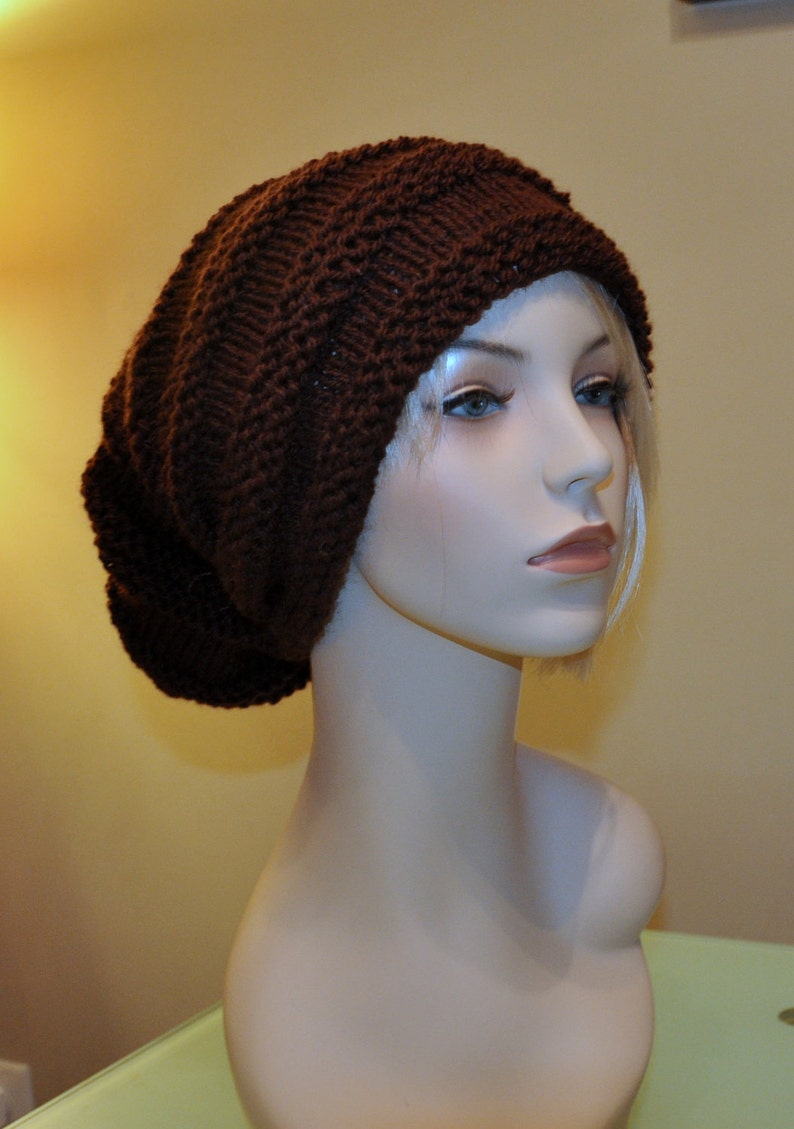 Slouch Beanie Slouchy Hat PDF PATTERN DIY Hand Knit Winter ...