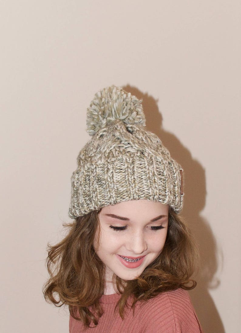 bf85b3b8676 Pom Pom Beanie Chunky Beanie Hat Winter Hat Teen Girl Hat Ski