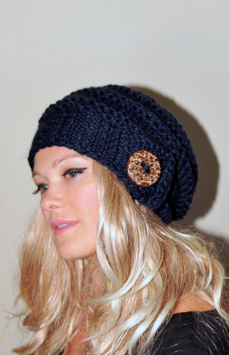 9ee1a218cd0 Slouchy Hat Slouch Beanie Button Hand Knit Winter Adult Teen