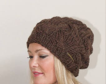 Slouchy Hat Slouchy Beanie Braided Beanie Winter hat chunky beanie Women CHOOSE COLOR Oatmeal Beige Natural Fall Chunky Christmas Gift