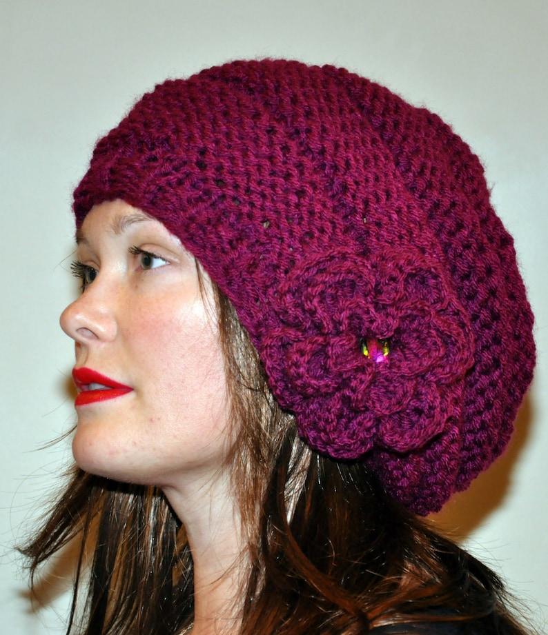 1b40b440f24 Slouchy Beanie Slouchy Hat Flower Crystal Knit Winter Adult