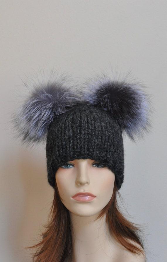 Double Pompom Hat Chunky Beanie Hat with 2 Fur Pom Pom Hat  f39e227e100