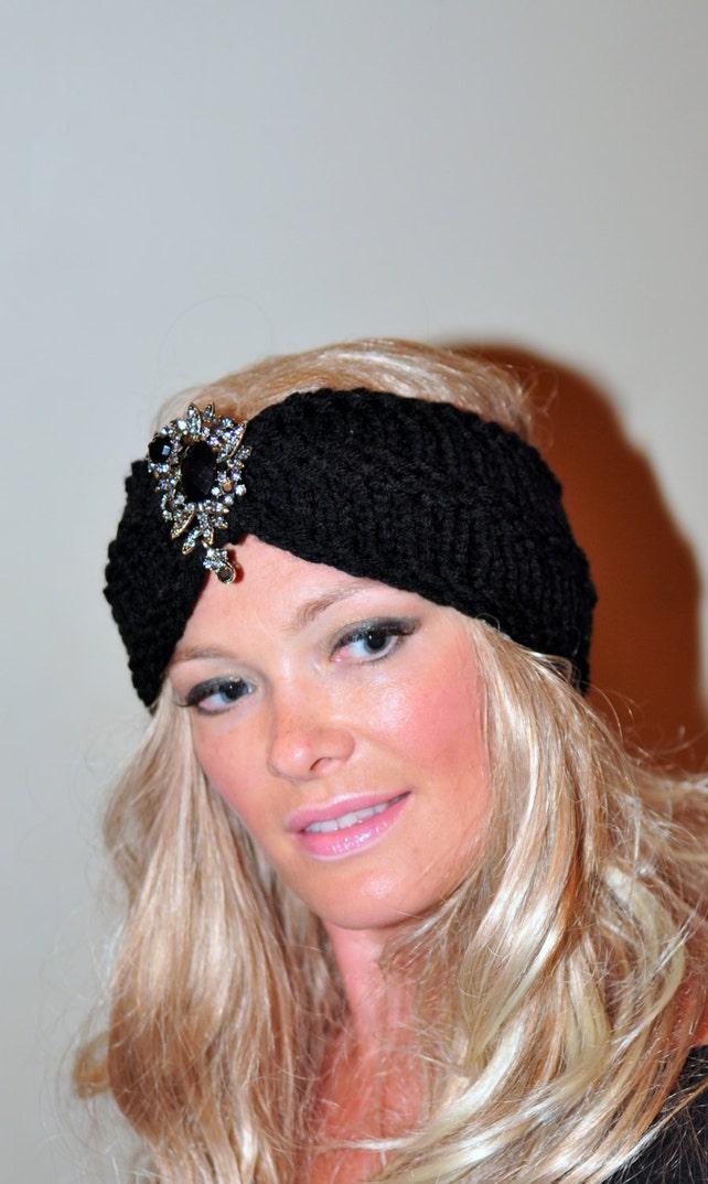 Perlenstirnband Brosche Turban schwarz gestrickt Ohr wärmer | Etsy