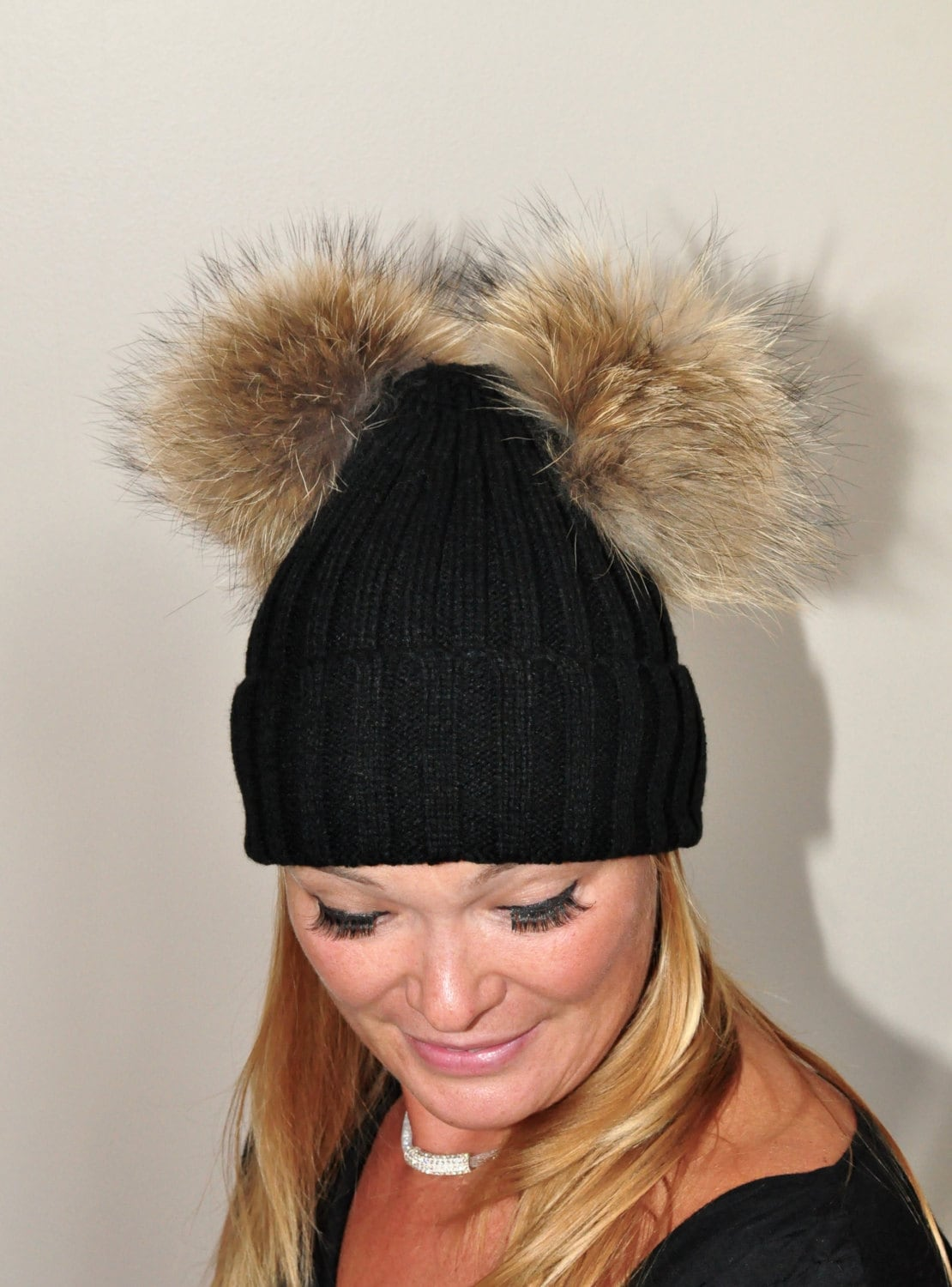 Black Double pompom Beanie Ribbed Hat 2 Fur Pom Pom Hat SALE  d9ab470477b
