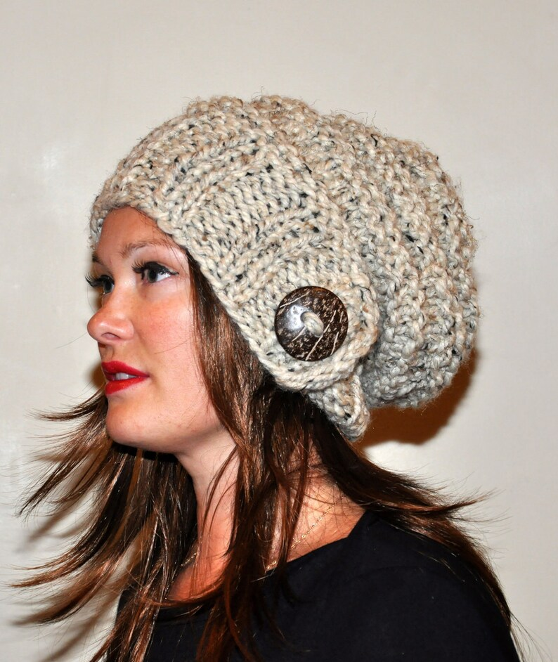f65389c64fe Slouchy Hat Slouchy Beanie 100% WOOL Button Hand Knit Winter