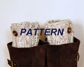 Boot Cuffs Socks Leg Warmers Boot Tops PDF PATTERN DIY Oatmeal Button Cozy Nature Knitt Cabled
