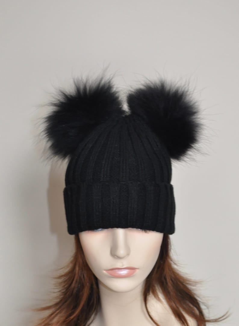 2fa23cd8cd5 Double PomPom Hat Kylie Jenner 2 Fur pompoms Ribbed Beanie