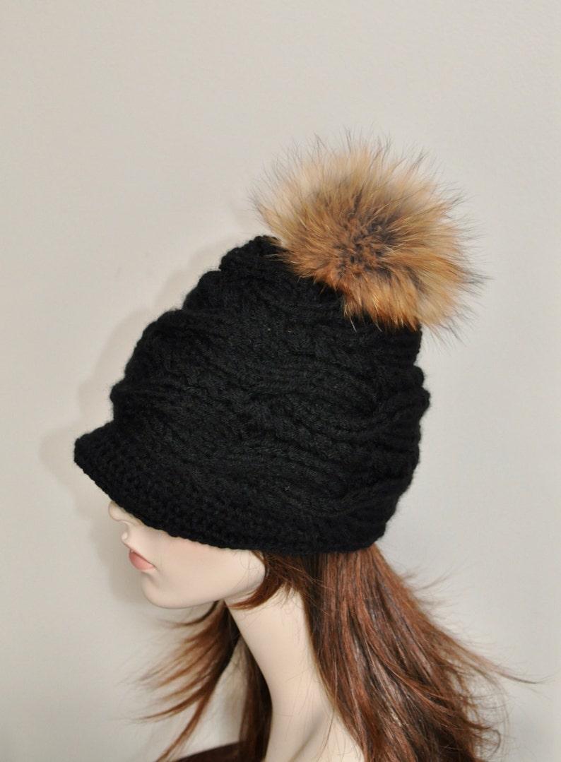 44bb7502d20 Pompom Beanie Visor Cap Brim Hat Pompom Beanie Hat Fur Pompom