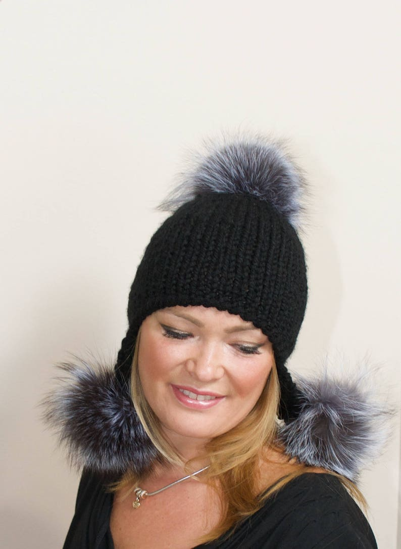 ef92fbcf1a5 Pompom Beanie Trapper Hat Gray Aviator Trapper Hat with Fur
