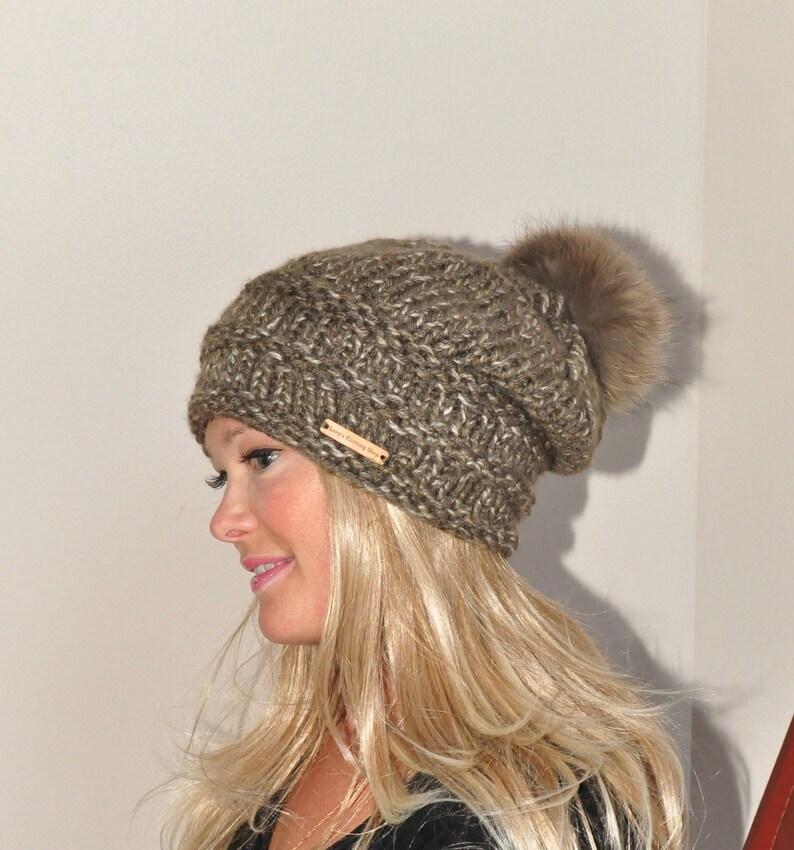 e8025599056 Pompom Beanie Fur Pompom Hat Slouchy Beanie Hat Chunky Women