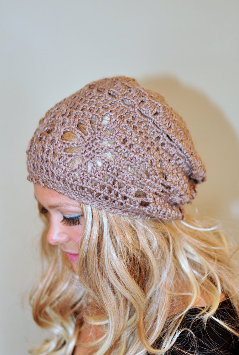 Slouchy Beanie Women Hat Slouchy Hat Summer Hat CHOOSE COLOR Brown Camel Summer Slouch Crochet Gift under 50