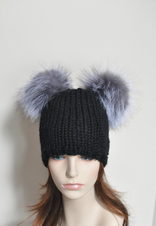 Black Double Pompom Beanie Kylie Jenner Hat 2 Fur Bobbles Hat  51343319fa2