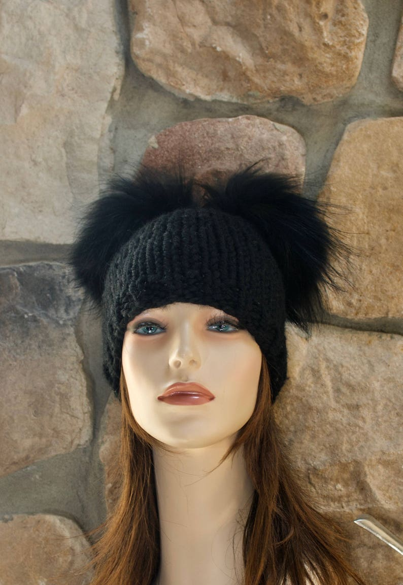 ff435702542 Double Pompom Beanie Kylie Jenner Hat 2 Fur Bobbles Hat CHOOSE