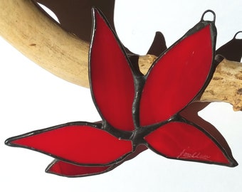 Handmade Deep Red Stained Glass Leaf Cluster