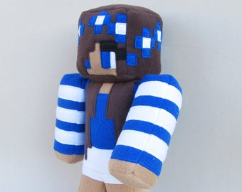 """Minecraft Carly doll - Girl Minecraft skin plush 16"""" - Personalized plushie - MADE TO ORDER"""