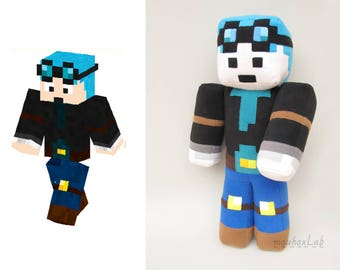 Minecraft inspired Dan tdm plushie, The Diamond Minecart doll, Geek doll personalized - MADE TO ORDER