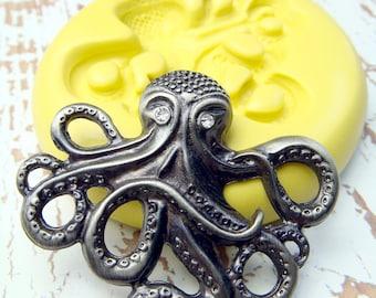 Octopus (medium) - Flexible Silicone Mold - Push Mold, Polymer Clay Mold, Resin Mold, Craft Mold, PMC Mold