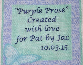 Quilt Label - Turquoise Butterfly With Lavender Frame, Custom Made & Hand Embroidered