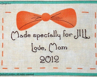 Quilt Label - Bow Tie, Custom Made & Hand Embroidered