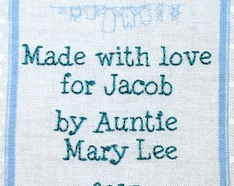 Baby Quilt Label - Blue Clothesline, Custom Made & Hand Embroidered LAST ONE