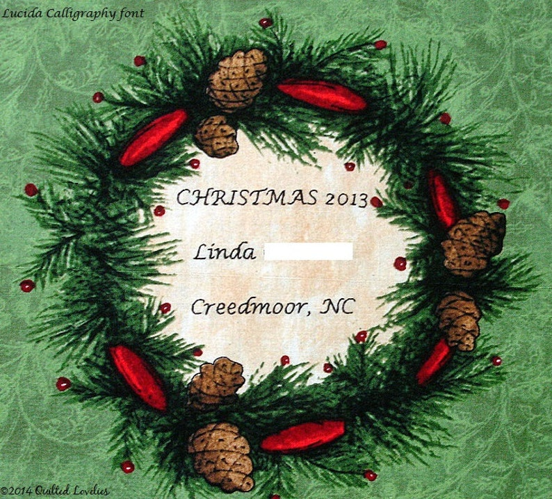 Christmas Quilt Label Custom Made and Hand Embroidered Pine Cone /& Red Ribbon Wreath