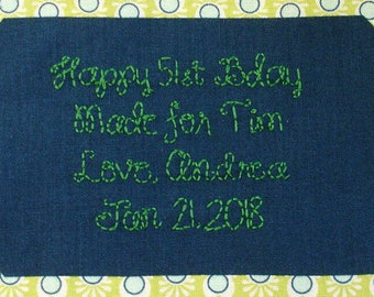 Quilt Label - Navy Plate, Custom Made & Hand Embroidered LAST ONE