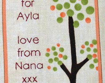 Quilt Label - Very Tall Tree, Custom Made & Hand Embroidered