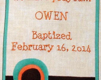 Quilt Label - Chocolate Drop, Custom Made & Hand Embroidered