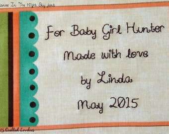 Quilt Label - Scalloped Edge, Custom Made & Hand Embroidered