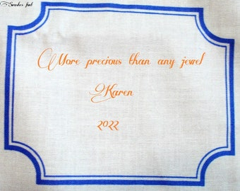 Quilt Label - Botanical Blues #2, Custom Made and Hand Embroidered