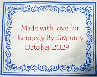 Quilt Label - Botanical Blues #1, Custom Made and Hand Embroidered