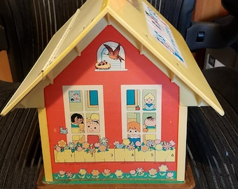Vintage Fisher Price Little People School House with Working Bell
