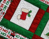 SALE Holiday Quilted Table Runner, Candle Mat or Mini Quilt Christmas featuring a stocking, Christmas tree and holly