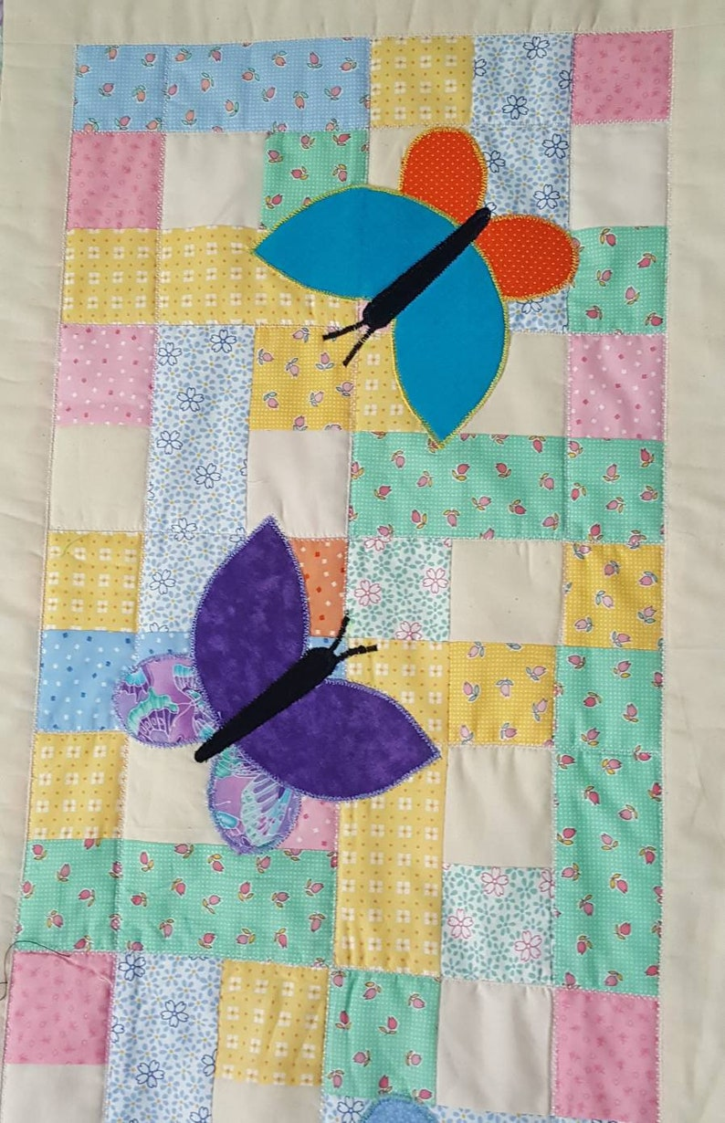 Teal table topper Quilted Table Runner table mat Patchwork with Applique Butterflies in Orange Blue and Purple table quilt