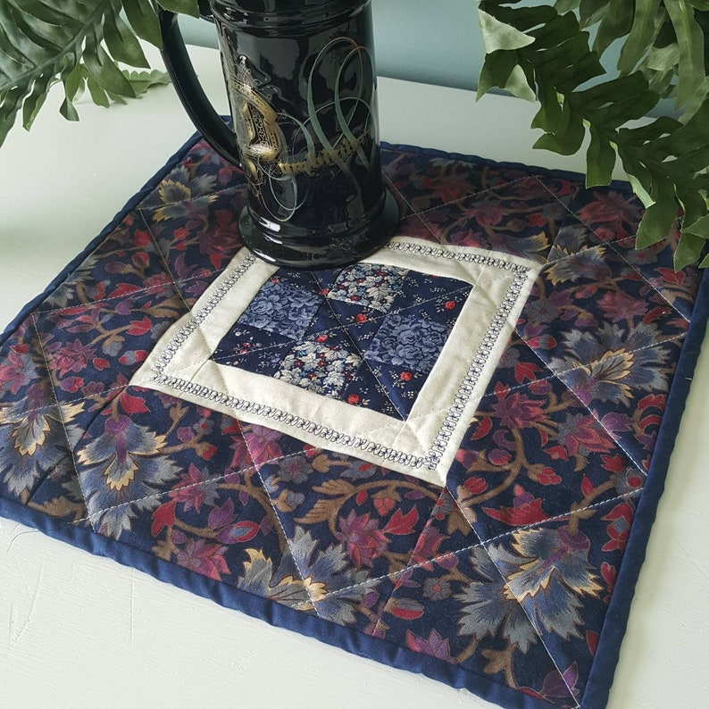 Quilted Patchwork Floral Candle Mat Table Topper or Mini image 0