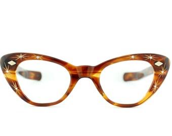 "Sale - Vintage 1960's Cali""Star"" cat eye eyeglass frames by Hollywood's Optics  - FREE DOMESTIC SHIPPING"