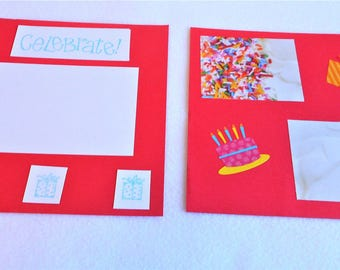 Birthday Scrapbook Page Two 8 X Premade Layout Hand Stamped Cake And Presents Rainbow Sprinkles Celebration