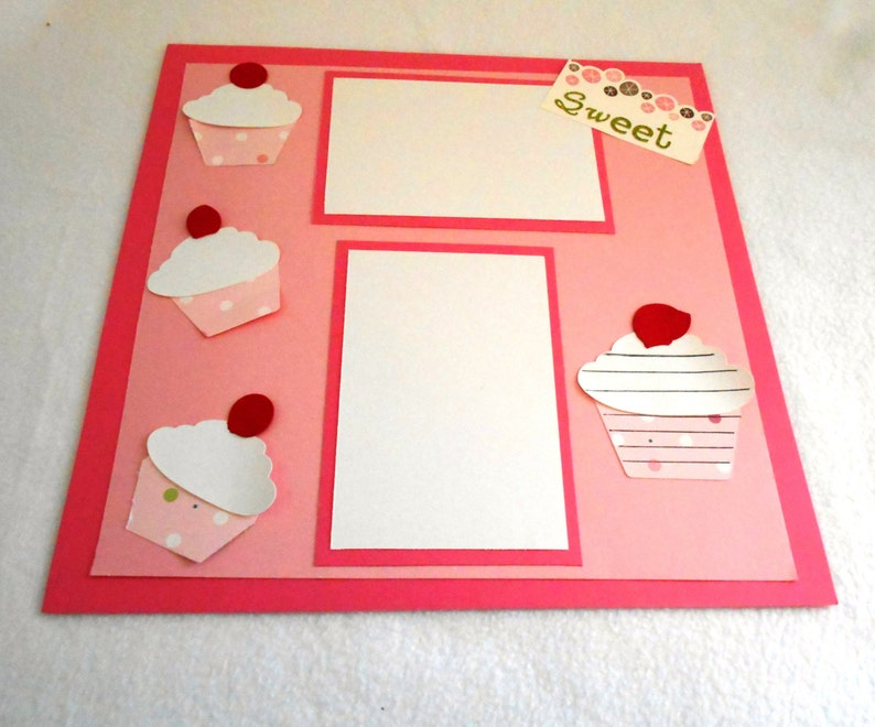 12x12 premade scrapbook page with die cut cupcakes Cupcake Premade 12 x 12 scrapbook page perfect for birthday parties or celebrations