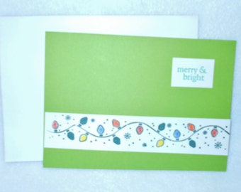 Handmade Christmas card, Hand stamped Christmas lights Merry and Bright holiday notecard, blank notecard, with space for a personal note