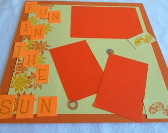 Summer vacation 12 x 12 premade scrapbook page, scrapbook layout, hand stamped, burnt orange color scheme, beach theme, family photo display