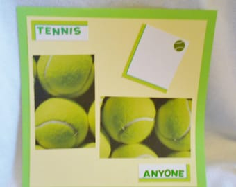 Tennis 12 x 12 premade scrapbook page, yellow and green, tennis ball paper, summer sports layout, for all ages, unique photo display