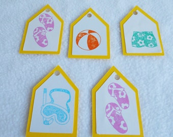 Summer tags, flip flops, beach balls, summer shorts, scuba mask, die cut hand stamped gift tags, Set of 5, for presents or scrapbook accents