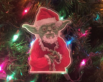 yoda claus star wars christmas ornament
