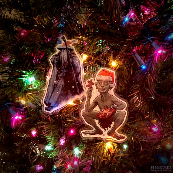 Lord Of The Rings Christmas Ornaments.Gandalf Gollum Lord Of The Rings Christmas Ornament Combo