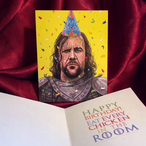 The Hound Game Of Thrones Birthday Card Etsy