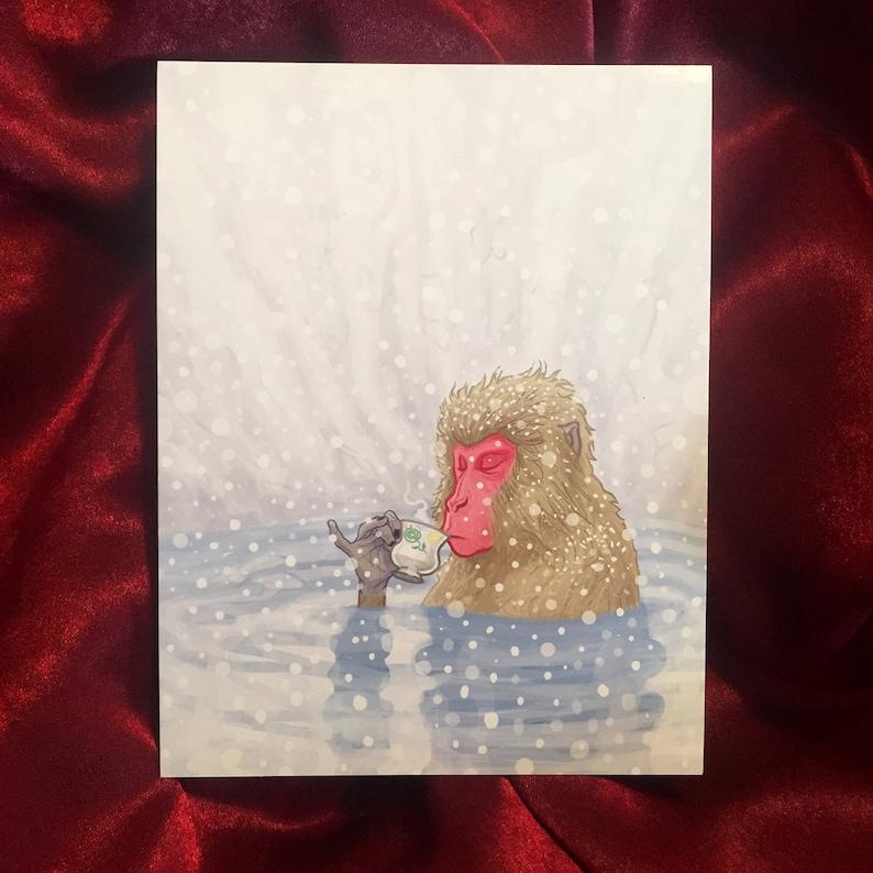 Snow Monkey Tea Greeting Card image 0