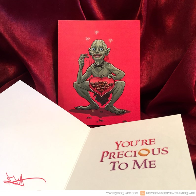 Gollum Lord Of The Rings Valentines Day Card Etsy