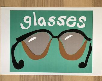 Glasses Illustration Pop Art Print