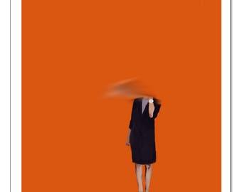 Orange Woman Illustration-Pop Art Print